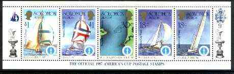 Solomon Islands 1986 America's Cup Yachting Championship, m/sheet #09 (of 10) comprising 5 values, unlisted by SG (the set of 10 m/sheets represent the complete set of 50 as listed as SG 570a) unmounted mint