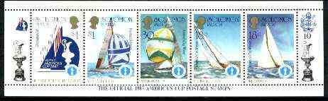 Solomon Islands 1986 America's Cup Yachting Championship, m/sheet #10 (of 10) comprising 5 values, unlisted by SG (the set of 10 m/sheets represent the complete set of 50 as listed as SG 570a) unmounted mint, stamps on ships, stamps on yachts, stamps on sailing, stamps on sport, stamps on maps