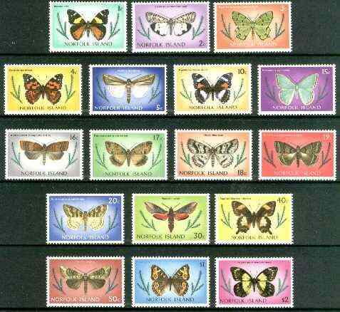 Norfolk Island 1976 Butterflies def set of 17 values complete unmounted mint, SG 179-95*