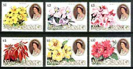 Niue 1981 Flowers (1st series) set of 6 high values ($1 to $10) unmounted mint, SG 405-410