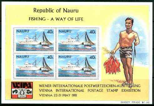 Nauru 1981 Fishing m/sheet with WIPA (Stamp Exhibition) imprint unmounted mint, SG MS 242