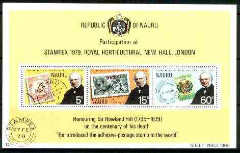 Nauru 1979 Rowland Hill perf m/sheet unmounted mint SG MS 207