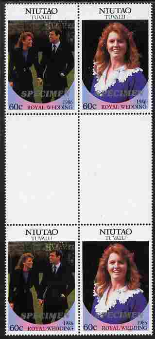 Tuvalu - Niutao 1986 Royal Wedding (Andrew & Fergie) 60c perf inter-paneau gutter block of 4 (2 se-tenant pairs) overprinted SPECIMEN in silver (Italic caps 26.5 x 3 mm) unmounted mint from Printer's uncut proof sheet