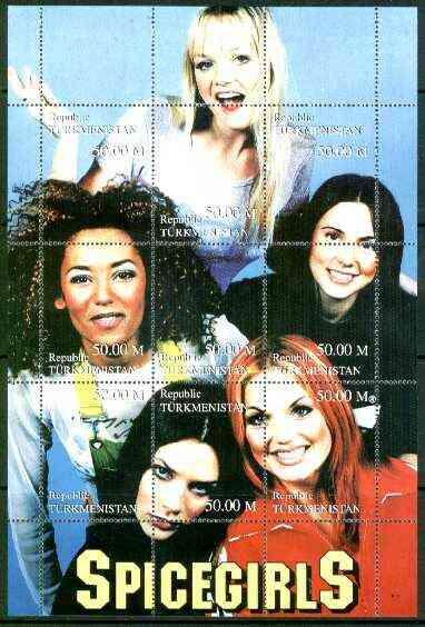 Turkmenistan 1999 Spice Girls composite perf sheetlet containing complete set of 9 values unmounted mint