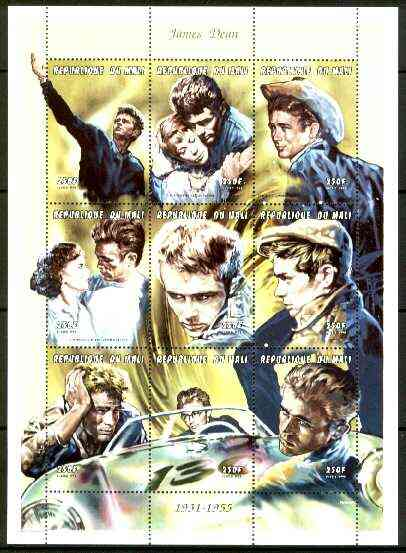 Mali 1999 James Dean perf sheetlet containing complete set of 9 values unmounted mint