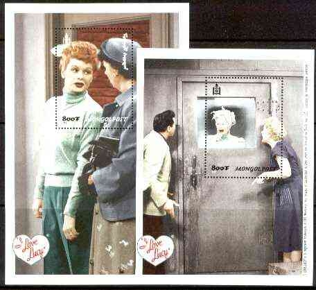Mongolia 1999 Lucille Ball set of 2 perf souivenir sheets, unmounted mint