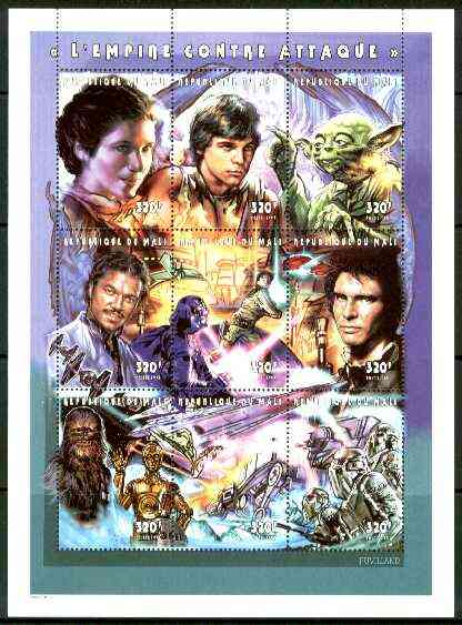 Mali 1999 Star Wars #02 'The Empire Strikes Back' perf composite sheetlet containing 9 values, unmounted mint, Mi 1964-72A