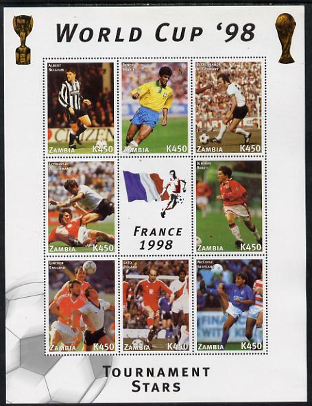 Zambia 1998 Football World Cup #1 perf sheet containing 8 values plus label unmounted mint