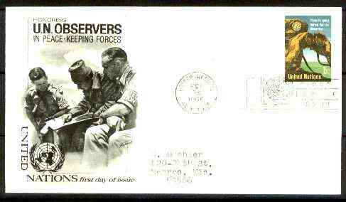 United Nations (NY) 1966 UN Military Observers 15c on illustrated cover with first day cancel