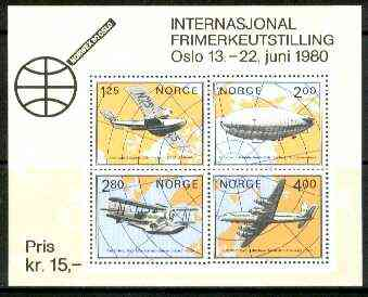 Norway 1979 'Norwex 80' Int Stamp Exhibition (Arctic Aviation) m/sheet unmounted mint, SG MS 847