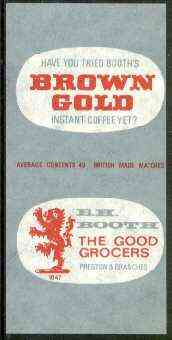 Match Box Labels - Brown Gold Instant Coffee 'All Round the Box' matchbox label in superb unused condition