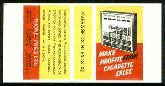 Match Box Labels - Make Profits from Cigarette Sales 'All Round the Box' matchbox label in superb unused condition
