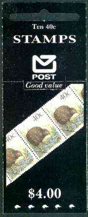 Booklet - New Zealand 1990 $4.00 booklet containing pane of 10 x Brown Kiwi 40c, pristine, SG SB 53