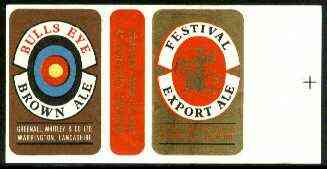 Match Box Labels - Bulls Eye Brown Ale (Target) 'All Round the Box' matchbox label in superb unused condition