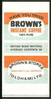 Match Box Labels - Brown's Instant Coffee 'All Round the Box' matchbox label in superb unused condition, stamps on coffee, stamps on drink