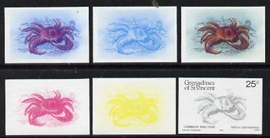 St Vincent - Grenadines 1985 Shell Fish 25c (King Crab as SG 360) set of 6 imperf progressive colour proofs comprising the four individual colours plus 2 & 3-colour composites unmounted mintNote: Due to a very fortunate purchase, I am able to sell this set at less than \A310 - other sellers on eBay are offering similar progressive proofs at between \A375 and \A3125 per set.