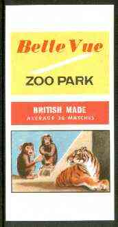 Match Box Labels - Belle Vue Zoo (Monkeys & Lion) 'All Round the Box' matchbox label in superb unused condition