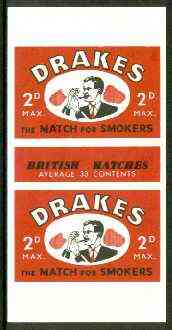 Match Box Labels - Drakes (Pipe Smoker) 'All Round the Box' matchbox label in superb unused condition