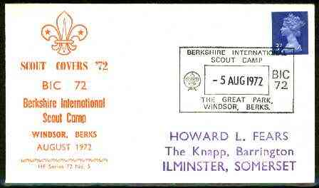 Great Britain 1972 Commemorative cover for Berkshire International Scout Camp with special illustrated cancel