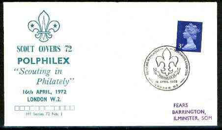 Great Britain 1972 Commemorative cover for Polphilex 'Scouting in Philately' with special illustrated cancel