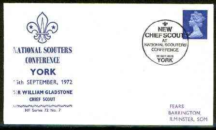 Great Britain 1972 Commemorative cover for York National Scouters Conferencee with special 'New Chief Scout' cancel