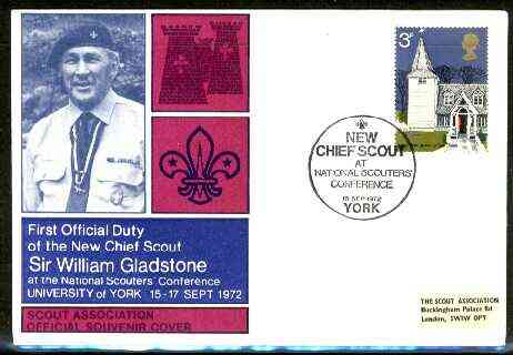 Great Britain 1972 Illustrated Commemorative cover for Sir William Gladstone with special 'New Chief Scout' cancel