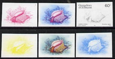 St Vincent - Grenadines 1985 Shell Fish 60c (Queen Conch as SG 361) set of 6 imperf progressive colour proofs comprising the four individual colours plus 2 & 3-colour composites unmounted mintNote: Due to a very fortunate purchase, I am able to sell this set at less than \A310 - other sellers on eBay are offering similar progressive proofs at between \A375 and \A3125 per set.