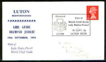 Great Britain 1970 Commemorative cover for Luton Girl Guide Diamond Jubilee with special illustrated 'Visit of Lady Baden-Powell' cancel