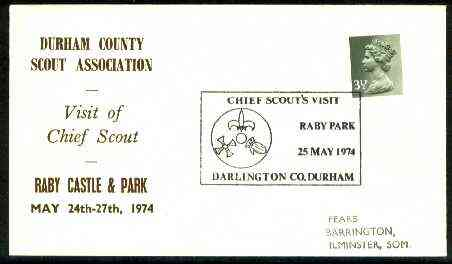 Great Britain 1974 Commemorative cover for Durham County Scout Association with special illustrated 'Visit of Chief Scout' cancel