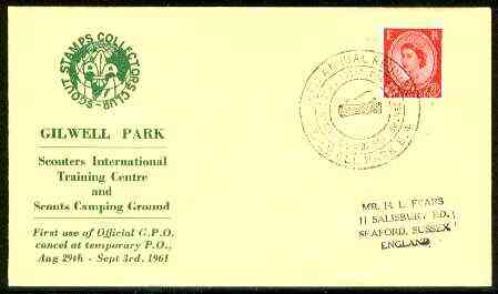 Great Britain 1961 Commemorative cover for Gilwell Park Int Training Centre with special illustrated 'Reunion' first day cancel