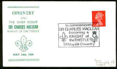 Great Britain 1969 Commemorative cover for Coventry Salutes the Chief Scout with special illustrated 'Knight of the Thistle' cancel