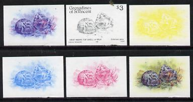St Vincent - Grenadines 1985 Shell Fish $3 (West Indian Top Shell as SG 363) set of 6 imperf progressive colour proofs comprising the four individual colours plus 2 & 3-colour composites unmounted mintNote: Due to a very fortunate purchase, I am able to sell this set at less than \A310 - other sellers on eBay are offering similar progressive proofs at between \A375 and \A3125 per set.