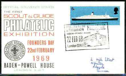 Great Britain 1969 commemorative cover for the First Scout & Guide Philatelic Exhibition with special illustrated Baden-Powell House cancel