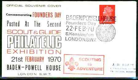 Great Britain 1970 commemorative cover for the Second Scout & Guide Philatelic Exhibition with special illustrated Baden-Powell House cancel