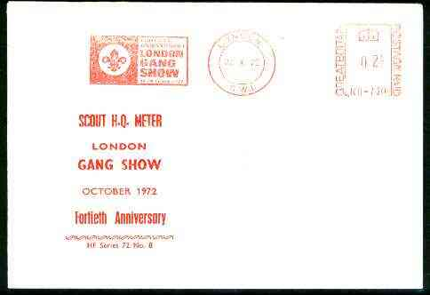Great Britain 1972 commemorative cover for the 40th Anniversary of London Gang Show with special illustrated meter cancel
