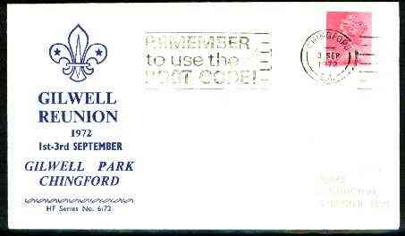 Great Britain 1972 commemorative cover for Gilwell Park Reunion with special last day cancel