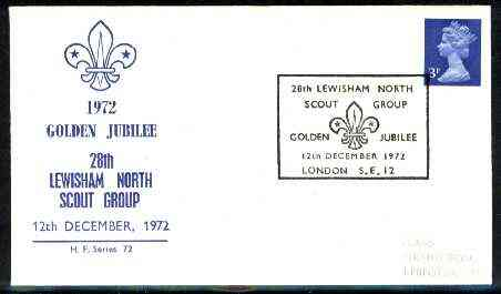 Great Britain 1972 commemorative cover for Lewisham North Golden Jubilee with special illustrated cancel