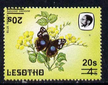 Lesotho 1986-88 Blue Pansy provisional 20s on 4s with double surcharge, one inverted unmounted mint, (SG 732a)