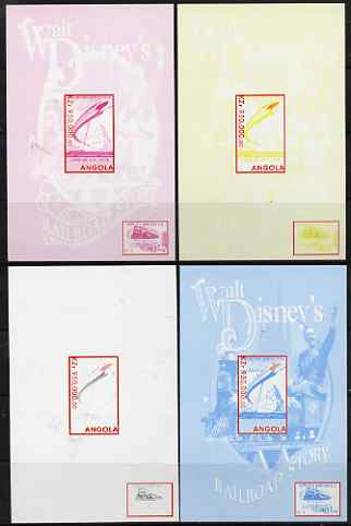Angola 1999 Walt Disney's Railroad Story #2 s/sheet - the set of 4 imperf progressive proofs comprising various 2 and 3-colour composites, unmounted mint