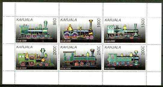 Karjala Republic 1997 Railway Locos perf sheetlet containing complete set of 6 values unmounted mint