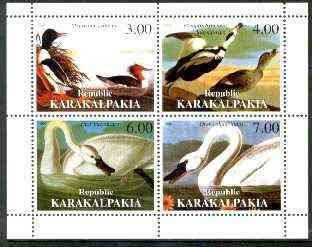 Karakalpakia Republic 1999 John Audubon Birds perf sheetlet containing 4 values unmounted mint