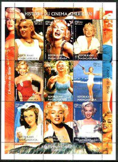 Madagascar 1999 Marilyn Monroe perf sheetlet containing complete set of 9 values unmounted mint, stamps on films, stamps on cinema, stamps on entertainments, stamps on music, stamps on personalities, stamps on marilyn monroe