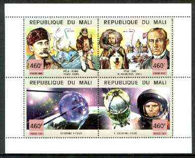 Mali 1999 Events of the 20th Century #5 perf sheetlet containing complete 4 values unmounted mint (N Pole, Sputnik & Gagarin)