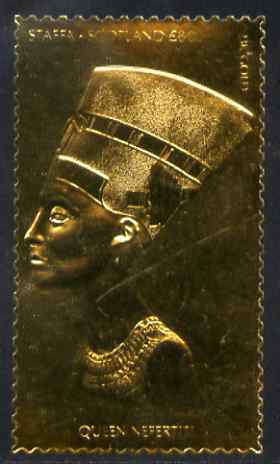 Staffa 1981 Egyptology \A38 Queen Nefertiti embossed in 23k gold foil (Rosen #1034) unmounted mint, stamps on egyptology, stamps on history, stamps on tourism, stamps on royalty, stamps on