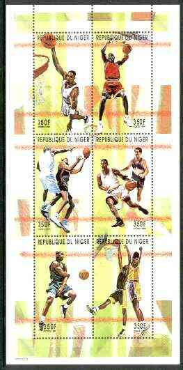 Niger Republic 1999 Basketball perf sheetlet containing complete set of 6 values unmounted mint