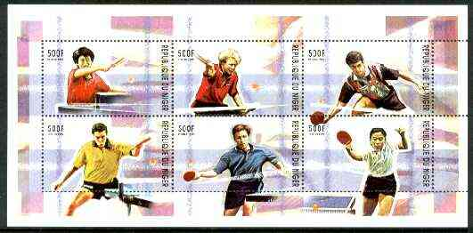 Niger Republic 1999 Table Tennis perf sheetlet containing complete set of 6 values unmounted mint , stamps on table tennis, stamps on sport