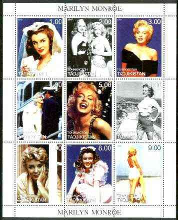 Tadjikistan 1999 Marilyn Monroe perf sheetlet containing complete set of 9 values unmounted mint