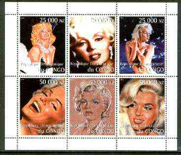 Congo 1999 Marilyn Monroe perf sheetlet containing complete set of 6 values unmounted mint