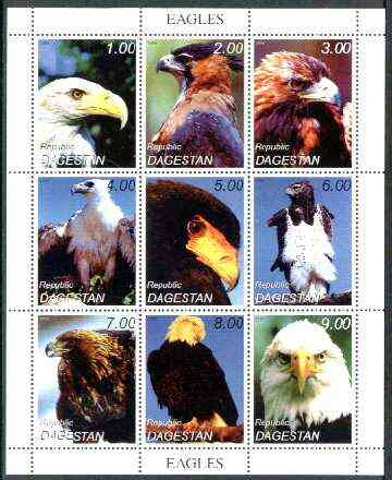 Dagestan Republic 1999 Birds of Prey (Eagles) perf sheetlet containing complete set of 9 values unmounted mint