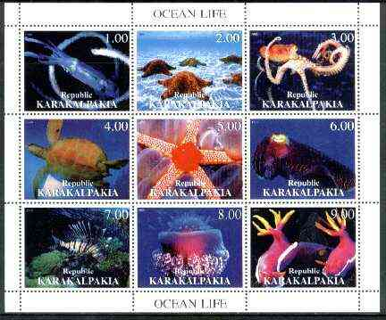 Karakalpakia Republic 1999 Ocean Life perf sheetlet containing complete set of 9 values unmounted mint